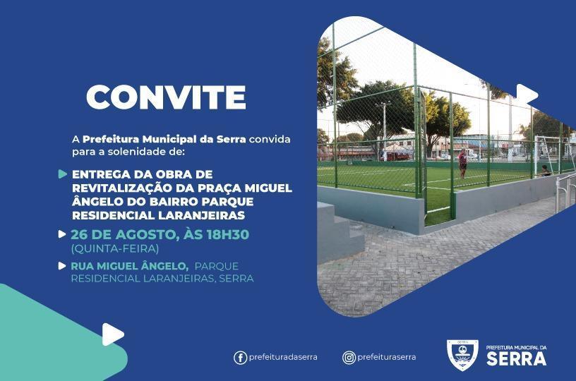 Nova praça de Parque Residencial de Laranjeiras será entregue nesta quinta (26)